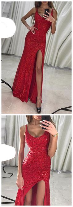 Red lace sequins long prom dress, mermaid