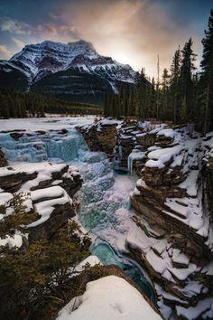 Athabasca Falls sunrise by Bob Bittner