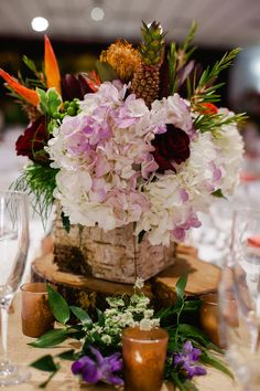 Rustic Meets Tropical Table Centerpieces //Julie Miner Events
