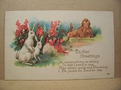 "Vintage Easter Post Card Postcard ""Easter Greetings"" Bunny & Boy 3-3/8"" X 5-3/8"""