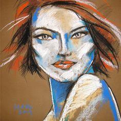 KATARZYNA RADZKA - Pani A. rysunek wykonany pastelami suchymi, węglem, akrylami i ołówkiem