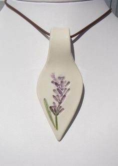 Michigan Lavender Pressed Plant Pottery by patulskicollectibles ceramic lavender pendant on etsy