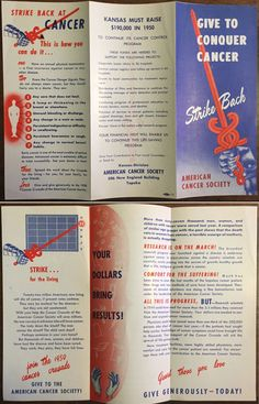 This is a vintage 1950 American Cancer Society Cancer Crusade brochure from the Kansas Division.