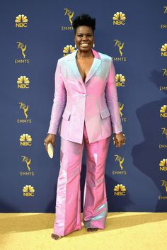Leslie Jones & Kenan Thompson Get Glam on the Red Carpet at Emmy Awards Best Celebrity Dresses, Celebrity Style, Christian Siriano, Red Carpet Fashion, Pink Fashion, Sequins And Stripes, Leslie Jones, Get Glam, The Emmys