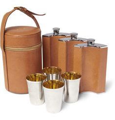FoundwellAsprey Silver-Plated and Leather Travel Bar Set HK$17,835