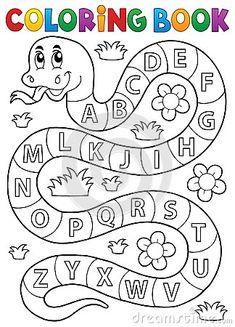 Serpente del libro da colorare con il tema di alfabeto