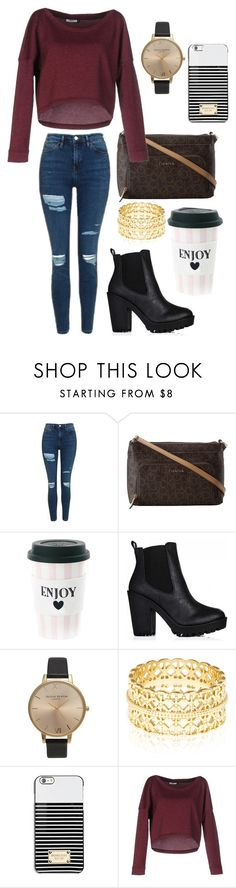 """""""Ajp"""" by star-lightt ❤ liked on Polyvore featuring Topshop, Calvin Klein, Olivia Burton, Accessorize, Michael Kors and ONLY"""