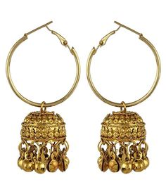1e177242503 Crazytowear Traditional Golden Hoop With Jhumka Earring available at snapdeal  for Rs.215 Earrings With