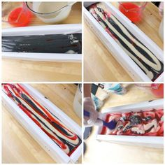 Swirling soap tutorial: Pour black soap into the mold in a zig zag motion, then pink, then the white. Repeat until you have about about an inch left in the top of the mold. Use a spatula to swirl the soap back and forth in the mold. Now for the top! Pour the black soap in width-wise, now, then the white soap on top of the black soap. Run your skewer through the top of the soap the long way to create a swirled look on the top.