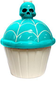 Cupcake Skull Cookie Jar (Aqua)