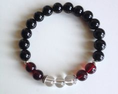 Astrology ~ Leo Sign ~ Genuine Black Onyx, Crystal Quartz & Red Garnet Bracelet w/ Hill Tribe Silver Spacers and Sterling Silver Caps