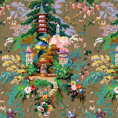 Chinoiserie Palace fabric by peacoquettedesigns on Spoonflower - custom fabric