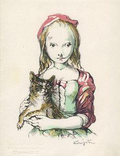 Tsuguharu Foujita (1886-1968) - Girl and cat