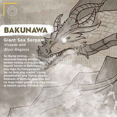 Bakunawa (Giant Sea Serpent) - The Philippines Today Filipino Words, Filipino Art, Filipino Culture, Filipino Tattoos, Philippine Mythology, Philippine Art, Japanese Mythology, Mythological Creatures, Fantasy Creatures