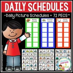 Daily Picture Schedules with 72 PECSDaily Schedules:Morning Schedule + Boardmaker versionAfternoon Schedule + Boardmaker versionEvening Schedule + Boardmaker version72 PECS + 72 Boardmaker PECSPECS include: bedtime story, bedtime, wash face, put coat on, (3) toilet, pray, brush hair, comb hair, take vitamins, put shoes on, get dressed (boy), get dressed (girl), make bed, put on pajamas, bath, shower, deodorant, brush teeth, breakfast, lunch, dinner, snack, get backpack, (2) ride bus…