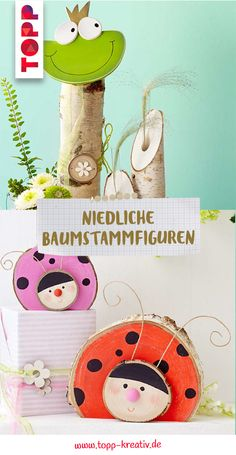 Niedliche Baumstammfiguren In our book you will find instructions and DIY ideas for tree trunk figures as decoration. The tree trunk figures are made of [. Spring Decoration, Crafts For Kids, Diy Crafts, Tree Trunks, House Entrance, Little Pigs, Garden Art, Ladybug, Snowman