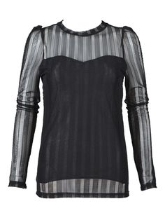 Black Sheer Panel Long Sleeve T-shirt