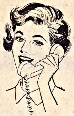 vintage lady on phone