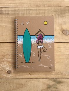 Original hand painted illustrated yoga surf by Spellboundbythesea