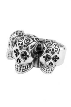 King Baby Studio Triple day of the day of the dead SKULL ring King Baby Jewelry, Day Of The Dead Skull, Men's Day, Size 10 Rings, Leather Jewelry, Jewelry Design, Designer Jewelry, Silver Rings, Mens Fashion