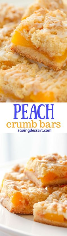 Fresh Peach Crumb Bars ~ there's nothing like soft, fresh, dripping down your chin - juicy, sweet peaches baked in a simple crust to make me swoon! This simple, easy recipe can be adapted to any of your favorite fresh summer fruits.  www.savingdessert.com