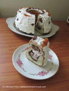 Guguluf din albusuri – 11 albușuri de ou, 15 linguri zahăr, 11 linguri făină, 5 linguri ulei, 1 plic budincă de ciocolată, 1 linguriță esență de migdale verzi, 3-4 linguri gem de caise, 500 ml lapte, 100 ml frișc… Cake Factory, Pancakes, French Toast, Pudding, Breakfast, Desserts, Food, Drink, Recipes