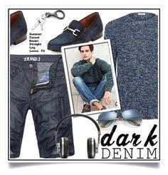 """Menswear Essential: Dark Denim"" by ewa-naukowicz-wojcik ❤ liked on Polyvore featuring Valentino, Donald J Pliner, Ray-Ban, Master & Dynamic, men's fashion, menswear, darkdenim and menswearessential"