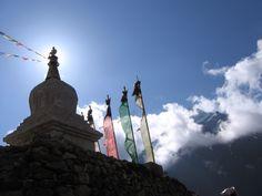 Mystical Nepal; sunrise over stupa in the Khumbu.