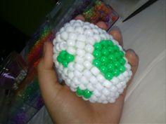 Kandi Yoshi Egg by Moldycookiez on deviantART Kandi Mask Patterns, Pony Bead Patterns, Beading Patterns, Pony Bead Animals, Beaded Animals, Diy Kandi Bracelets, Beaded Bracelets, Pony Bead Projects, Kandi Cuff