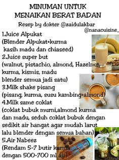 nambah berat badan Healthy Juice Drinks, Healthy Juice Recipes, Healthy Juices, Healthy Tips, Health Diet, Health And Nutrition, Herbal Doctor, Herbs For Health, Herb Recipes