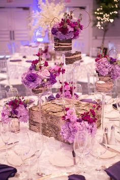 Lavender centerpiece with rustic elements