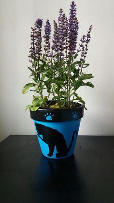 Handpainted kitty flower pot