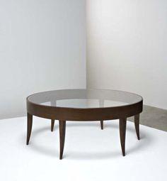 Gio Ponti; Walnut and Glass Coffee Table, 1930s.