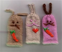 These bunny puppets, from a free pattern, are really easy to knit and you can embellish them however you like. I make sure I have some orange fingering weight yarn for the carrots. They're a wonderful fast knit for an Easter basket addition.