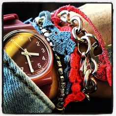 """#Swatch """"Rule was if you didn't have 3 Swatch Watches to wear all on 1 arm at the same time you'd better chunk it up with braclet's & lots of em just to compensate.""""-LL"""