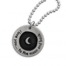 Etched Moon Circle of Love Necklace