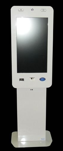 "Model i/50 is manufactured in steel painted in the colour chosen by the client; rear door with key lock; facility that allows kiosk to be fixed to the ground if necessary; ventilation system; electrical circuit with fuse; support for integration of additional appliances; 32"" tft LCD monitor; touch screen; compartment for mini PC tower; audio; RFiD card reader, printer, barcode scanner, webcam, movement sensor."