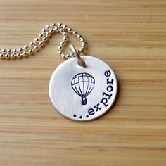 Graduation- Hand Stamped Explore Hot Air Balloon Necklace Sterling Silver for graduate on Etsy, $31.00