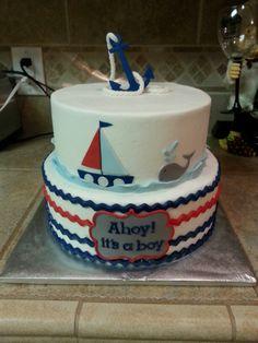 Nautical baby shower cake.