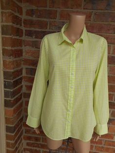 J CREW Perfect Shirt Size 10 Mini Gingham Check 67123 Blouse Top Long Sleeve M #JCrew #Blouse #Casual