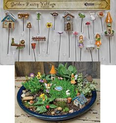 New Garden Fairy Village Set has 20 pieces including 3 houses, a frog, a ladybug, 2 fairies and more! Each item on on a metal pick so it is easy to add to your fairy garden!