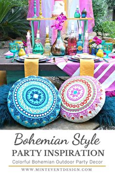 The mix of bright colors and textures in this Bohemian Style party are so much fun, and perfect to enjoy outdoors. Great for engagement parties, birthdays, showers, or any other occasion. Get all of the DIY details now at minteventdesign.com! Bohemian Party Decorations, Bohemian Party Theme, Gypsy Party, Hippie Party, Hanging Pom Poms, Ibiza Party, Romantic Dinners, Romantic Picnics, Party Signs