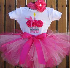 SWEET DAISY Birthday Girl Set - 3d Cupcake Onesie and Tutu Skirt and Matching Flower Headband- 1st 2nd 3rd 4th 5th Birthday by taddletellshop on Etsy