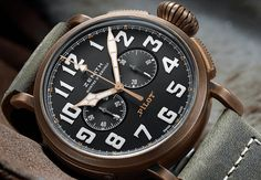 Satin finish in a bronze case gives the new Zenith a distinctive look.http://discountwatchstores.com/new-zenith-heritage-pilot-released