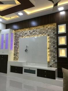 Most current and alluring TV wall designs. Living room tv Rugs - PDB Trending unit design 2018 Most current and alluring TV wall designs. Tv Unit Interior Design, Tv Unit Furniture Design, Flat Interior, Interior Ideas, Room Interior, Interior Modern, Apartment Interior, Tv Unit Decor, Tv Wall Decor