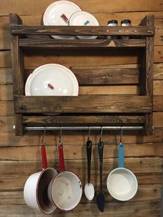 Wood hanging Pot Rack with Industrial Pipe with 5 hooks to hold pots and Utensils.Modern Industrial wood