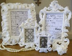 Set of 4 White Frames-Ornate Vintage Style High Gloss Baroque Picture Frames-Chalkboard-Chalkboard Vinyl-Wedding-Reception-Signs
