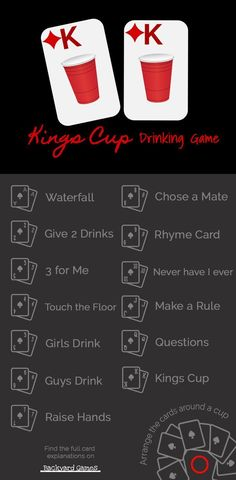 Kings Cup Drinking Card Game Rules And Instructions 4 Drunk Players! Get the rules for each cards in the popular drinking card game, Kings Cup. Kings Cup Drinking Card Game Rules And Instructions 4 Drunk Players! Adult Drinking Games, Drinking Games For Parties, Adult Games, Kings Cup Drinking Game, Drinking Games Cards, Camping Drinking Games, Christmas Drinking Games, 2 Player Drinking Games, Couples Drinking Games