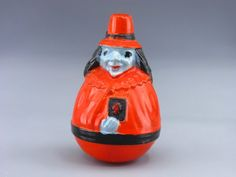 Vintage Celluloid witch roly-poly Halloween figure. Marked Viscoloid.