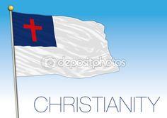 Simbolo di cristianità bandiera sui precedenti del cielo blu — Vettoriali Stock © frizio #125674308